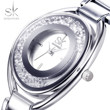 SK Silver Diamond Women Watches Luxury High Quality Water Resistant Montre Femme Stainless Steel 2017 Dress Woman Wrist Watch