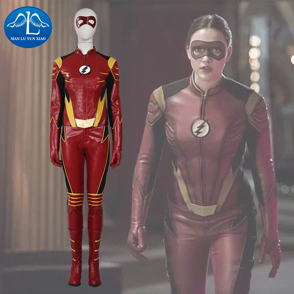 MANLUYUNXIAO The Flash Season 3 Cosplay Costume Jesse Quick Costume Halloween The Flash Costume PU leather Suit For Women