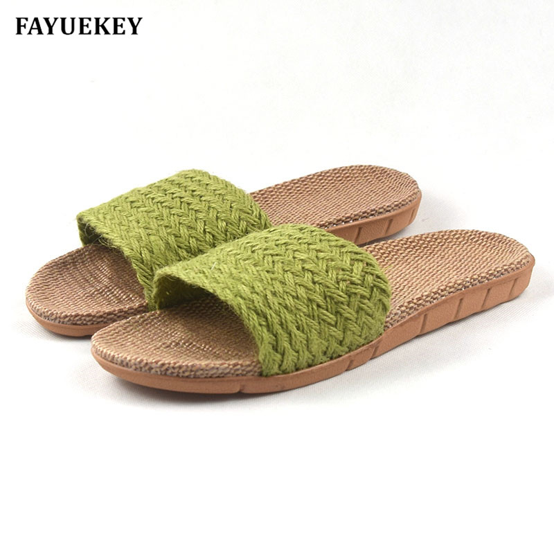 FAYUEKEY Summer Home Linen Non-slip Breathable Slippers Women Indoor\Floor Girls Gift Beach Open-Toed Slides Slippers Shoes fayuekey 2018 new fashion summer home linen non slip breathable slippers men indoor floor outdoor beach boys flat slides shoes