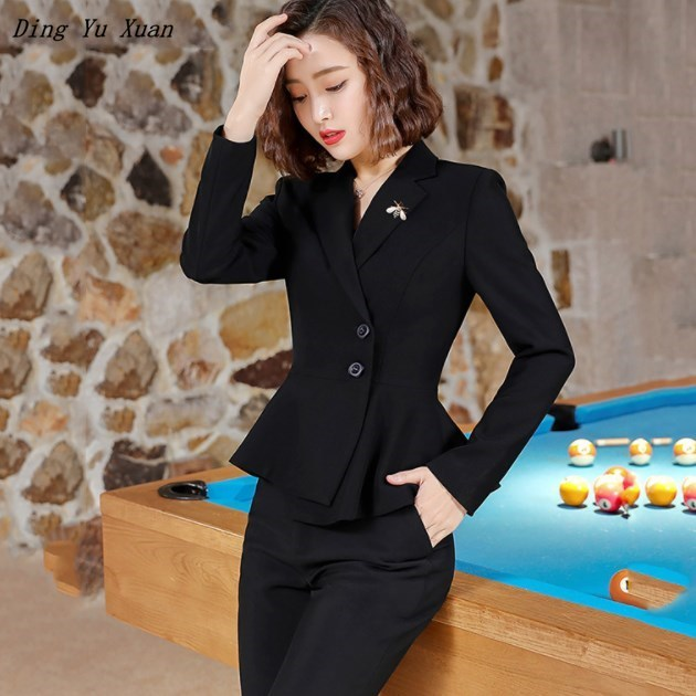 Womens Interview Pantsuits Fashion Pants Suit Women Formal Slim Jackets Pants Work Wear Business Casual Outfits Red Black