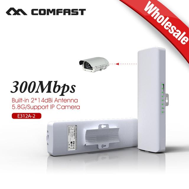 Ao ar livre de cobertura 5 km siganl impulsionador/amplificador 5.8 Ghz COMFAST 14dBi De Alto Ganho Receptor Wi-fi Ao Ar Livre 2 pcs atacado E312A