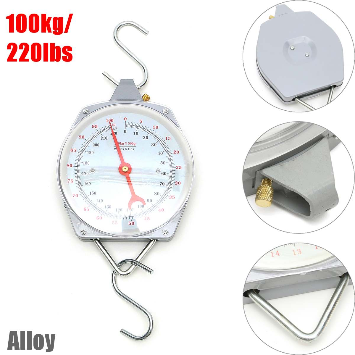 100kg 220lbs Hanging Scale Capacity Alloy Mechanical Hanging Scales With 2 Hook