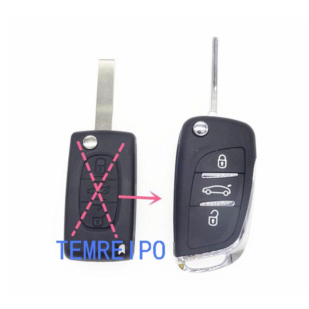 New Replacement Refit Flip Key Shell Fit For PEUGEOT 406 408 308 207 407 Case Refit 3 Button Uncut Blade Auto Parts
