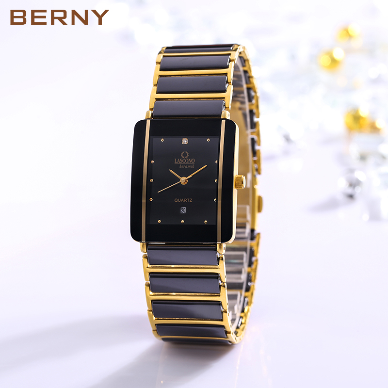Berny Ceramic Couple Watch Janpanese Quartz Lovely Watch relogio masculino Water Resistant relogio feminino 2010ML relogio pmw211