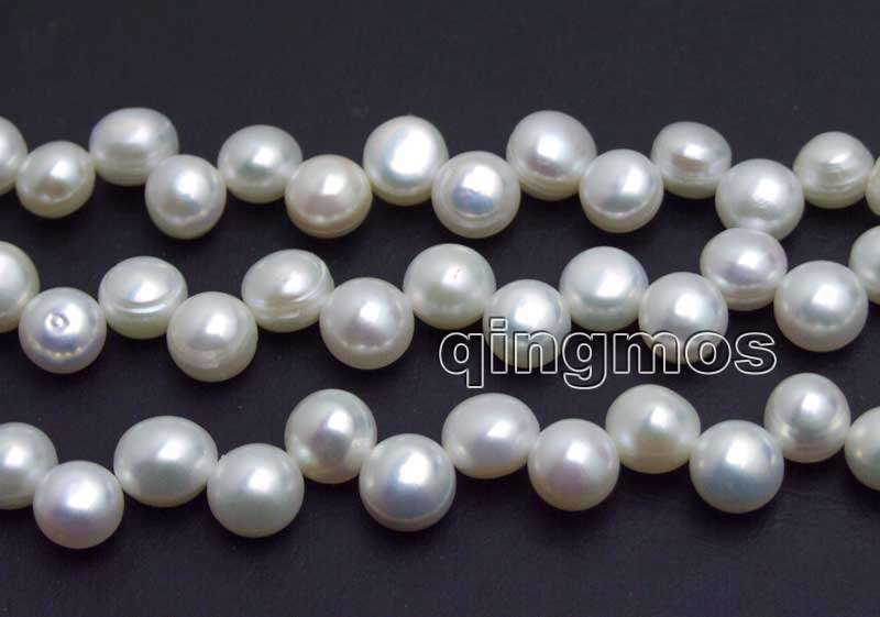 Beads 7-8mm White Flat Round Side Drilled Natural Freshwater Pearl Loose Beads Strand 14-los768 Wholesale/retail