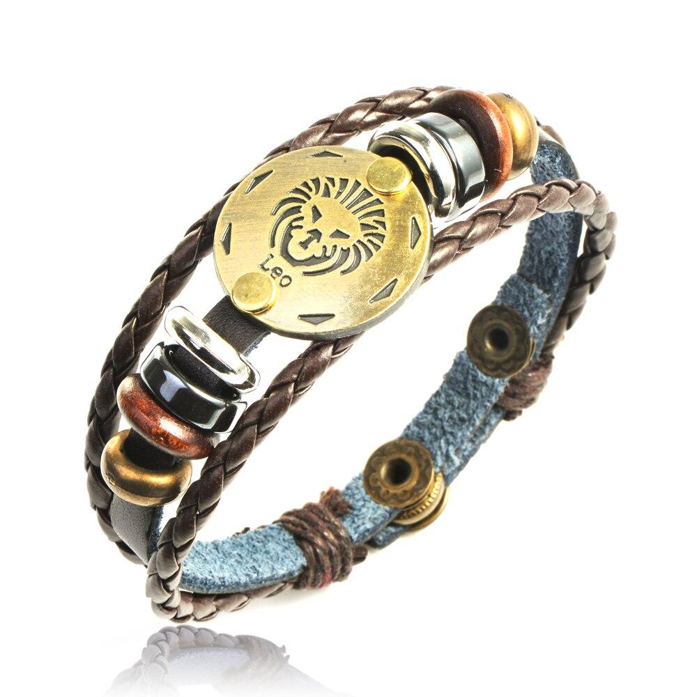 QIYIGE Punk Style Bronze Alloy Zodiac Bracelet 12 Constellations bronze Handmade Braid For Women Charm Jewelry Gifts