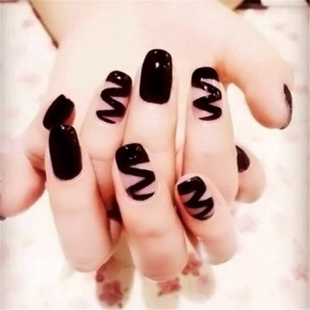 24pcs Punk Style Hippie Nail Tips Black Wave Pattern Solid Color ...