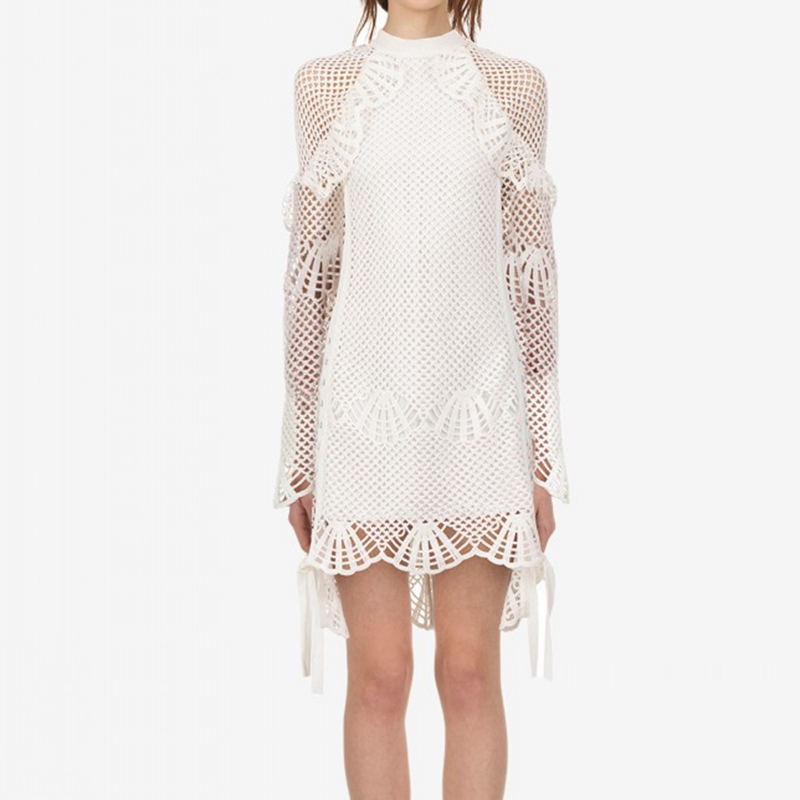 Designer 2018 À Auto Court Blanc Manches Robe Fête Femme De Longues Portrait SMGUqpVz