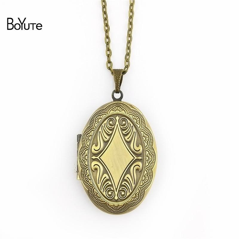 BoYuTe Retail 1 Piece 70CM Chain 2338MM Oval Floating Photo Locket Necklace Pendant Open Necklace (5)