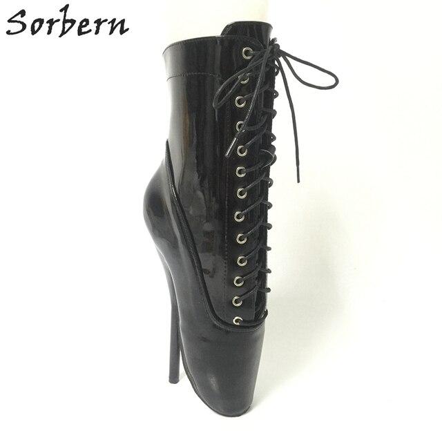 Sorbern Black Shiny Ballet High Heels 18Cm Fetish Shoes Ankle Boots Women  Ballet Dance Shoes Short Boots Custom Colors Lace Up d75b16e54d04