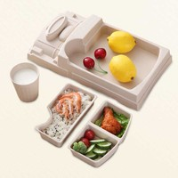 Baby Food Divided Plate Set Bamboo Fiber Storage Tray Cup Container Infant Feeding Kids Tableware NSV775