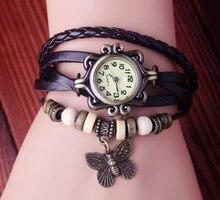 Fashion Vintage Genuine Cow Leather Butterfly Watch With Beads Women Ladies Retro Dress Quartz Wrist Watches kow007