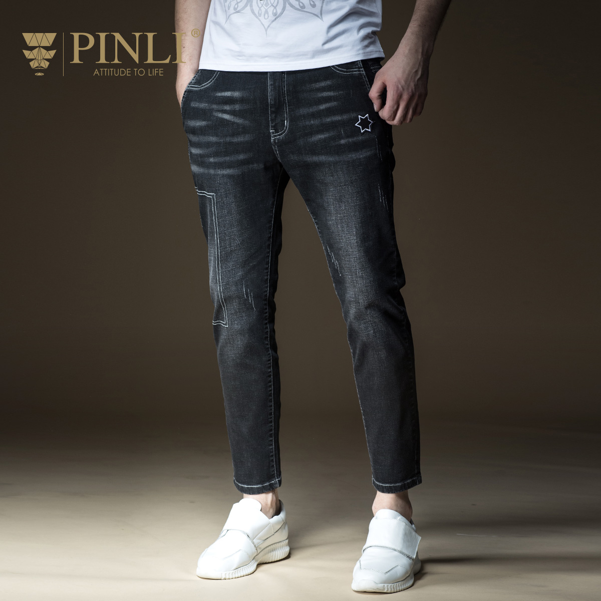 PINLI products 2018 spring new mens wear black leisure little feet jeans long B181216205