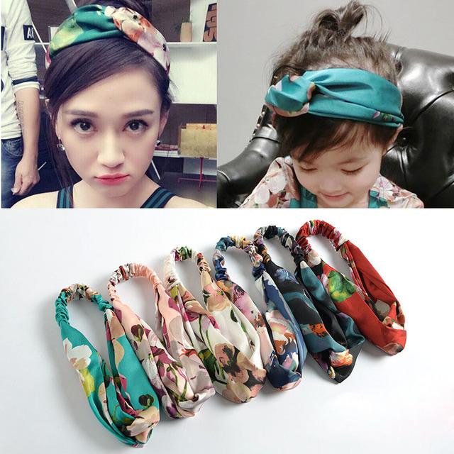 Hair Accesorries Headbands for Women Baby Head band Girl Hairbands Floral Print Silk Satin fabric Hair Band Elastic Cross Turban
