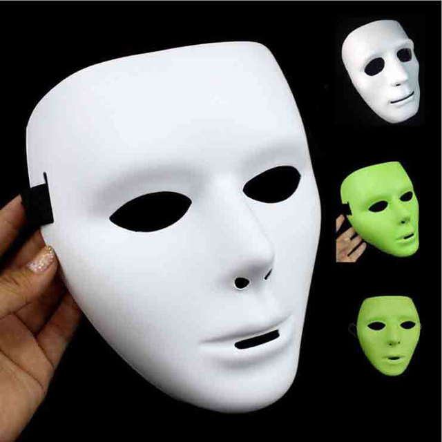 5Pcs Halloween Hip Hop Dancing Mask Black/White/Luminous Full Face PVC Cosplay Mask Masque Party Costume Accessories Discount