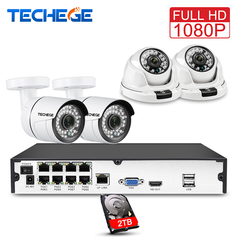 Techege 8CH volle 1080 p POE NVR kit 2.0MP 3000tvl Nachtsicht dome kamera IP POE Kamera P2P Wolke Surveillance kit cctv system