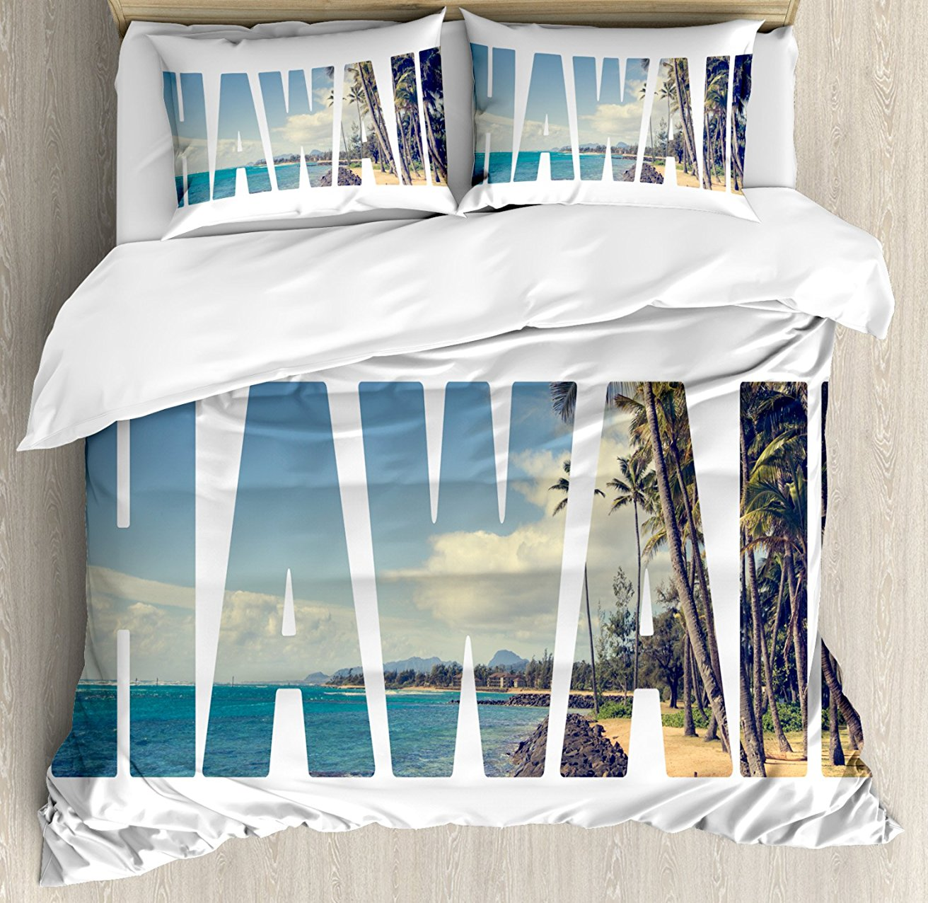 Duvet Cover Set, Word Hawaii with Tropical Island Photo Exotic Popular Places Palm Forest by Ocean, 4 Piece Bedding Set