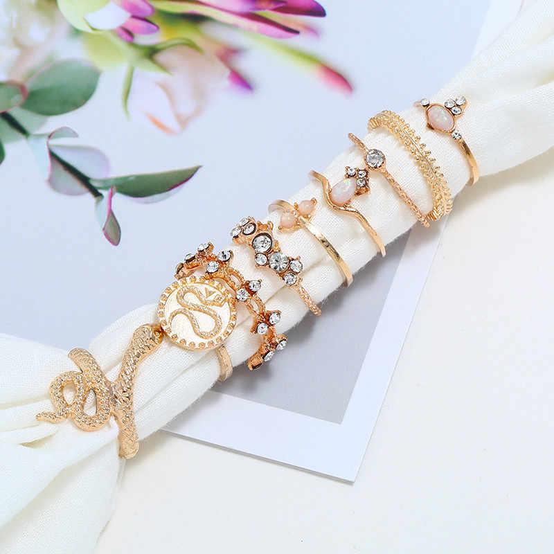 9 pièces/ensemble Boho rétro anneaux cristal serpent feuille or fleur anneau ensemble femmes mode fête cadeaux de mariage bijoux accessoires