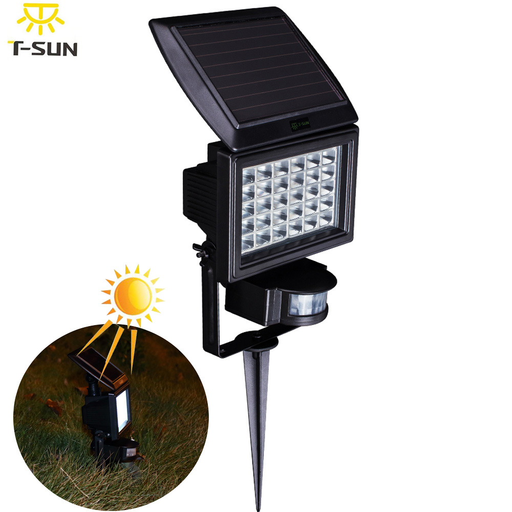 Charmant PIR 30 Outdoor Solar Lighting Lamp Waterproof Powered LED Flood Light  Garden LED Spotlight Ground Landscape Security Lighting In Solar Lamps From  Lights ...