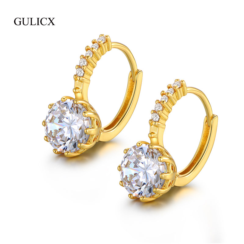 Gulicx Classic Silver Color 9 Colors Geometry Crystal Earring