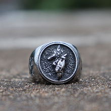 Viking Animal Totem Silver Wolf Rings Nordic Mythology Fenrir Rune Stainless Steel Ring Amulet Jewelry