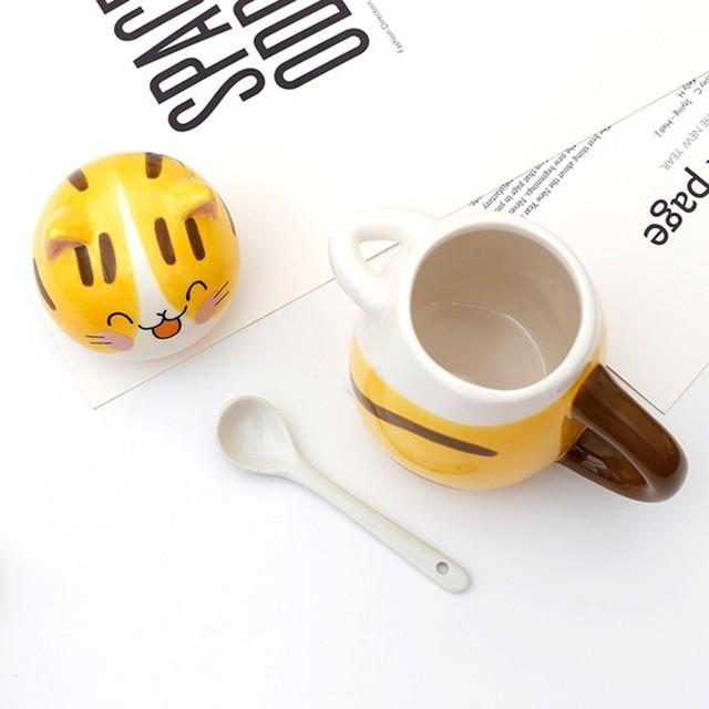 Cute Cat Mug With Lid Handmade Printed Coffee Cups And Mugs With Cat Lid Spoon Ceramic Creative Cartoon Cat Coffee Mug Cup 4
