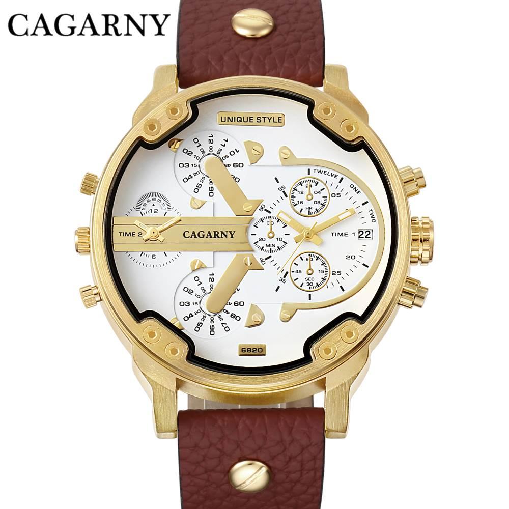 CAGARNY الأزياء الفاخرة أعلى ماركة الرجل الساعات حزام جلد Watchband الذهب ووتش حار بيع ذكر كوارتز ساعة المعصم في الهواء الطلق