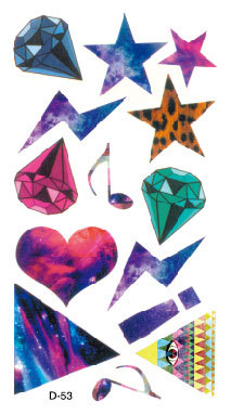Harajuku Magic coloful Star Diamond Moon heart women men cool temporary tattoo stikceres high quality wholesale