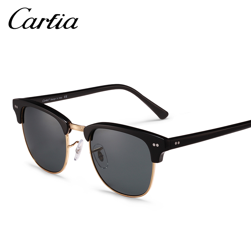 631d6f97e Carfia 2018 Tons Rebite Das Mulheres Dos Homens Polarizados óculos de Sol  Do Vintage Clássico Retro Marca Designer Sem Aro óculos de Sol 100% UV400