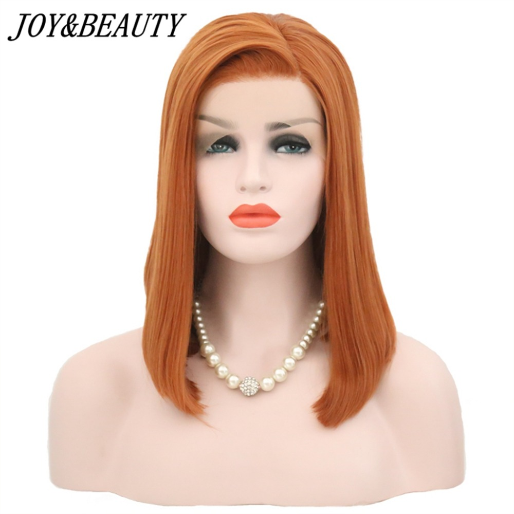 JOY&BEAUTY Orange Free Part Short Bob Lace Front Wig Synthetic Hair Heat Resistant Glueless Natural Silky Straight Fiber Wig 16