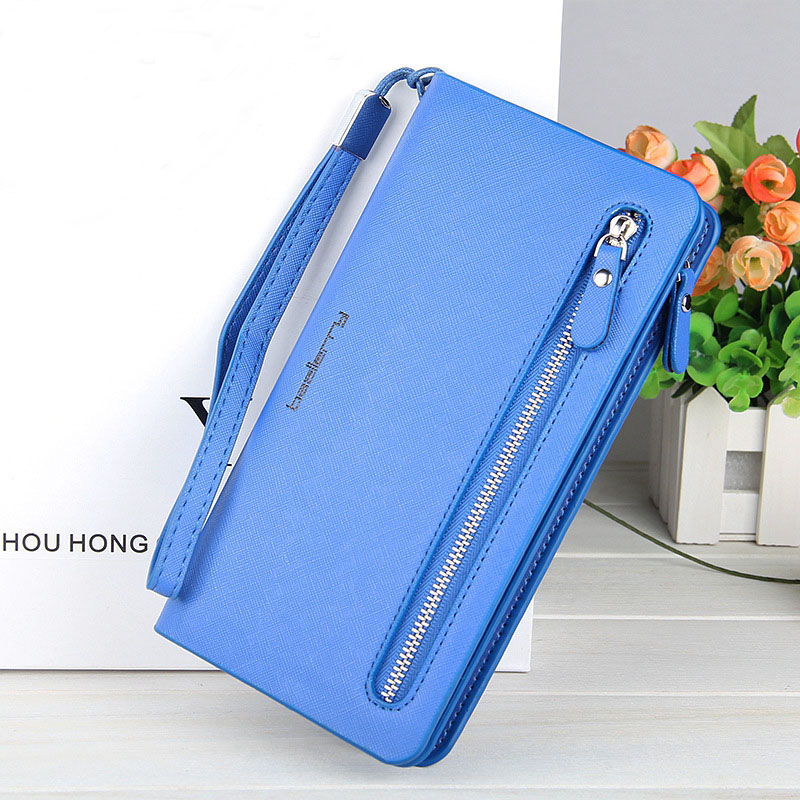 High Capacity Fashion Women Wallets Long Dull Polish PU Leather Wallet Female Double Zipper Clutch Coin Purse Ladies Wristlet large capacity clutch purse female card bags new women long star wallet fashion banquet zipper pu leather wallets