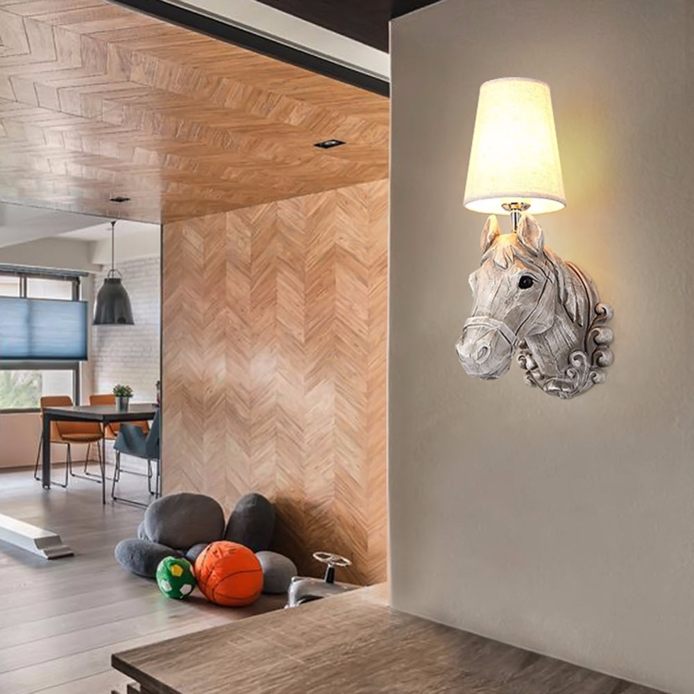 Bedroom wall lighting - Wall Light Europe Resin Horse Head Wall Lamp Bedroom Wall Light Creative Fashion Corridor Balcony Study