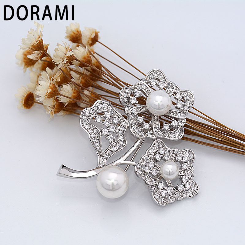 DORAMI Silver Flower Pin with Pearl High quality Colorful Garment Accessorie Dance party gift Fine Popular JEWELRY