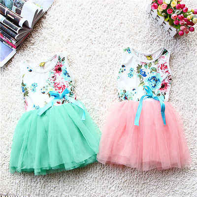2016 Fashion Casual Baby Girl Dress Sleeveless Party Flowers Printed Floral Tops Bow Tutu Dresses Sundress