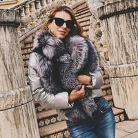 EIFURKOP Full Real Silver Fox Fur Coat Warm Down and Cotton Jacket Winter Fur Coats for Woman