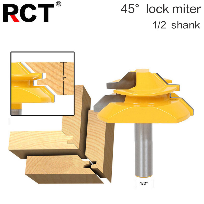 Large Lock Miter Router Bit - 45 Degree - 1 Stock - 1/2 Shank -Tenon Cutter for Woodworking Tools-RCT15293 2pcs 1 2 shank lock miter router bit tenon milling cutter for woodworking cutter tool cutting tools tenon cutter