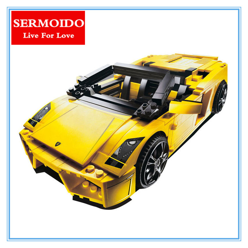 SERMOIDO 8611 LP560-4 Toy Building Blocks 820pcs Technic Sports Car 2in1 Creator Racing Boy Gifts Compatible With Lepin B257 in stock new lepin 21009 fxx 1 17 toy building blocks 632pcs technic racing sports car supercar model boy gift compatible 8156