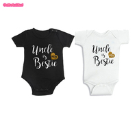 Culbutomind Uncle Is My Bestie Cotton Short Sleeve Black And White Twins Baby Clothing Funny Baby