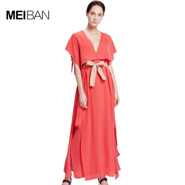 Мэй Ray-Ban Лето 2017 г. короткий рукав V Средства ухода за кожей шеи Сексуальная Нерегулярные Длинные платья