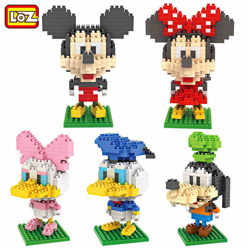5 pcs LOZ Diamond Blocks Mini Mickey Minnie Mouse Donald Duck Daisy Goofy Animal Figure Toys Educational Building Blocks loz mini diamond block world famous architecture financial center swfc shangha china city nanoblock model brick educational toys