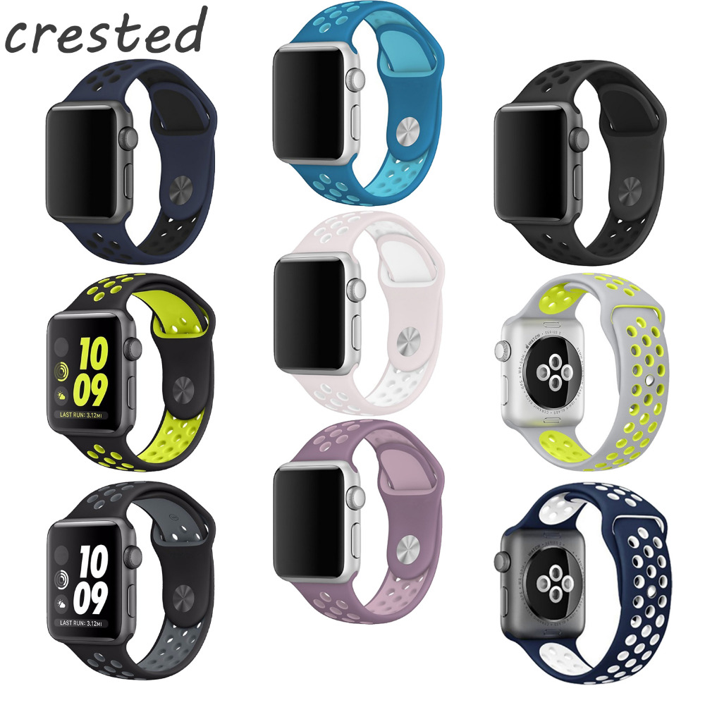 CRESTED Silicone strap For Apple Watch Band 42mm Sport Band For Apple Watch Strap For Nike SM/ML size Series 1/2/3