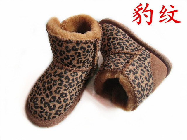 Winter Anti-skid cow muscle soles  boots child snow leopard boots shoes plush warm wool shoes baby snow boots boys snow boots