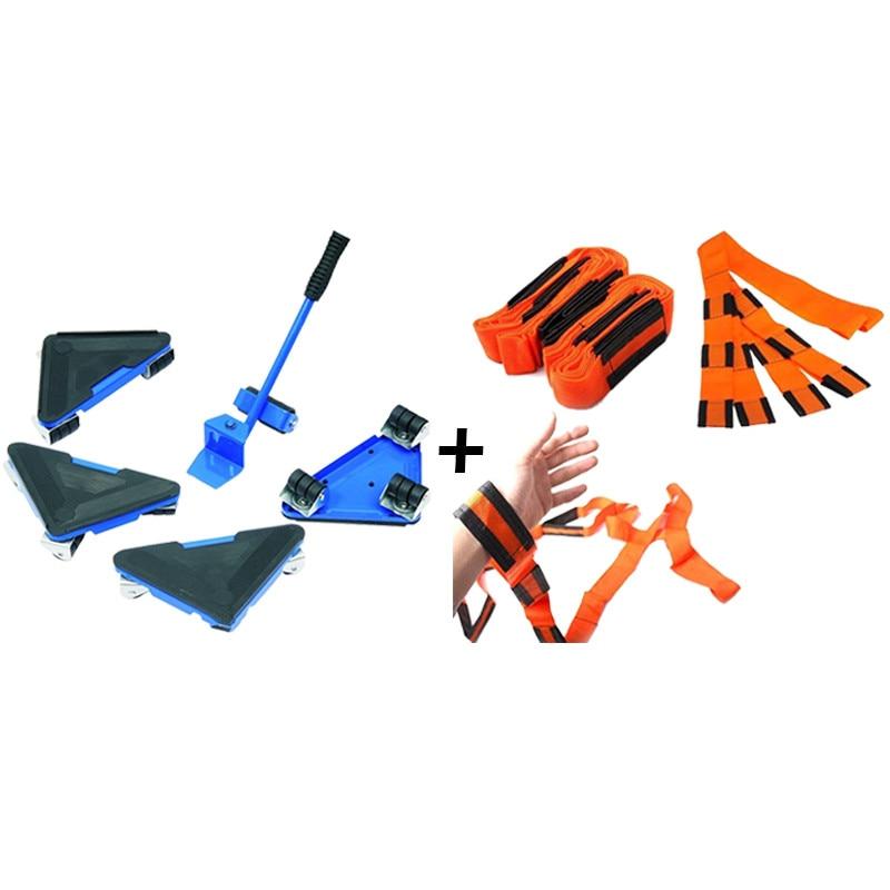 Zestaw do transportu mebli Podnośnik do mebli i zjeżdżalnie meblowe (rolki napędowe) 4 Podnośniki narożne na kółkach + 1 Podnośnik na kółkach + lina 2PC