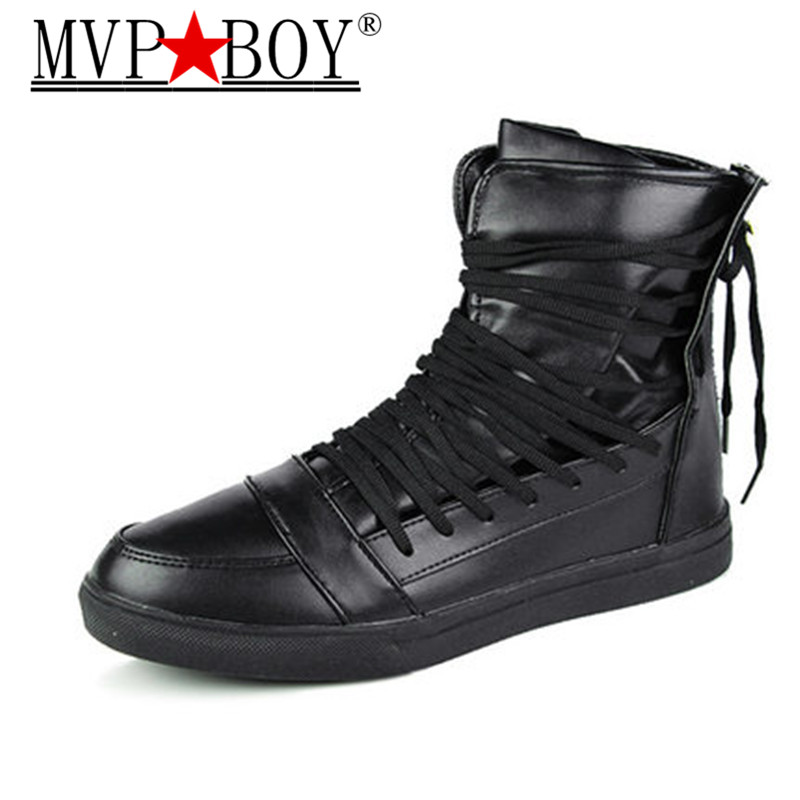 MVP BOY High Tops Men Sneakers Male Casual Shoes Lace-Up Student PU Leather Boots Hook & Loop Board Shoes White Red Black 39-44 red leather men casual shoes lace up high tops flats fashion patchwork men s sneakers round toe plus size customized board shoes