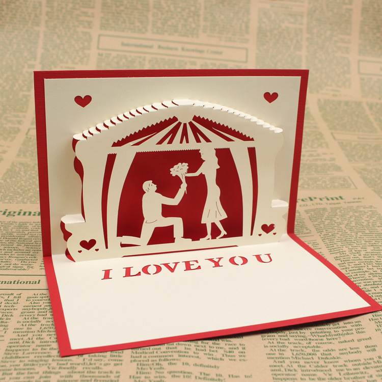 Propose a new 3 d CARDS, wedding invitations, wedding three-dimensional CARDS, greeting CARDS,10*15cm 30pcs in one postcard take a walk on the go dubai arab emirates christmas postcards greeting birthday message cards 10 2x14 2cm