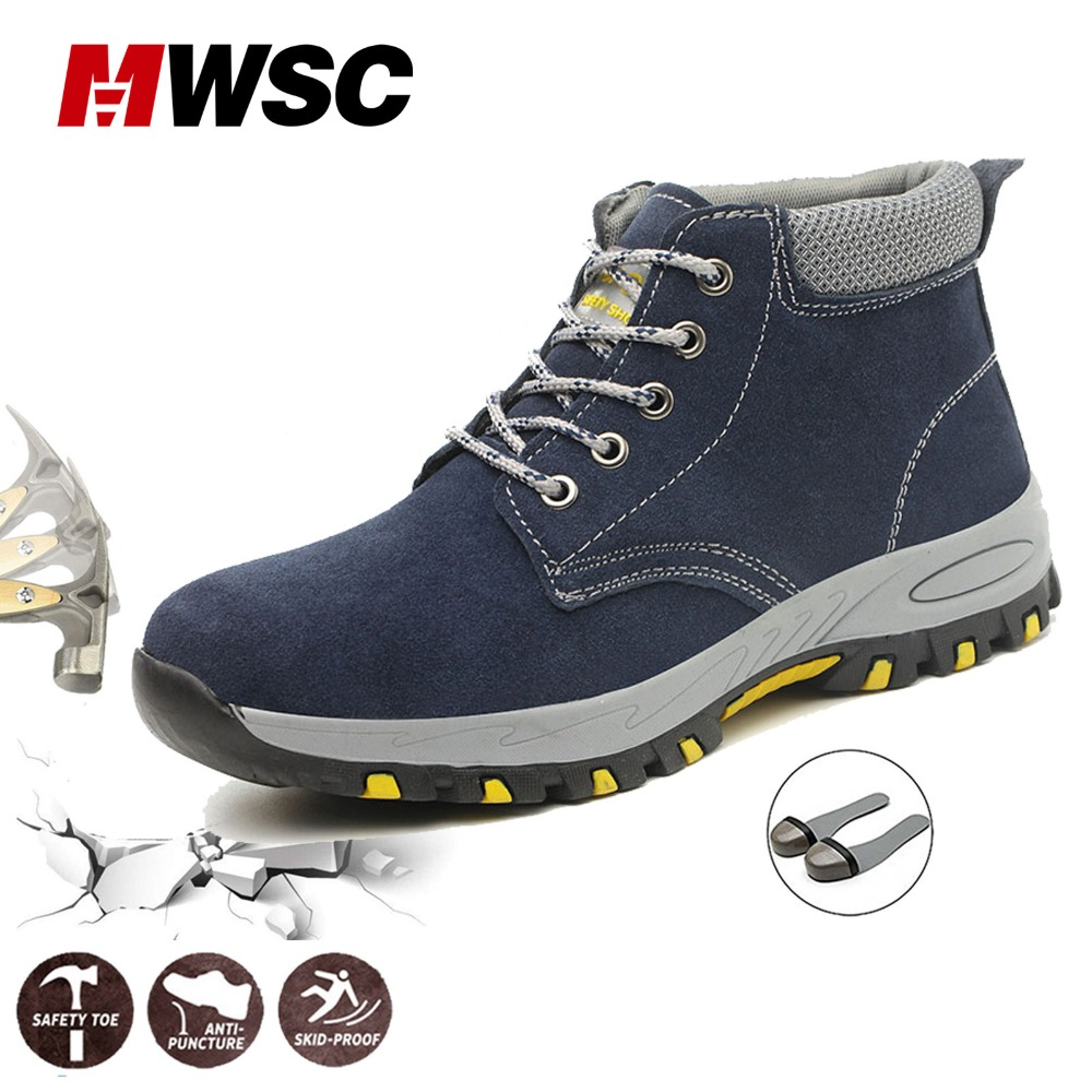 MWSC/Мужская Безопасная рабочая обувь; ботинки; неразрушенные ботильоны со стальным носком для мужчин; уличные защитные ботинки с защитой от ...