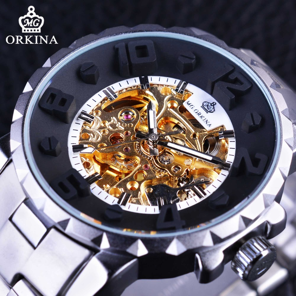 Orkina Silver Stainless Steel Sport Design 3D Stereo Dial Design Golden Skeleton Watches Automatic Men Watches Top Brand Luxury mini stainless steel handle cuticle fork silver