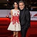 Mandy 2016 SAG Awards Amal Clooney Princesa Mini vestido de baile Sem Mangas Bordado Flor Ruched vestidos de festa Vestido Da Celebridade