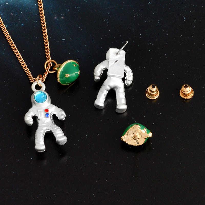 Qihe Jewelry космонавт и планета ожерелье пространство Galaxy Moon Star космического пространства личности ювелирные изделия подарок для девочек