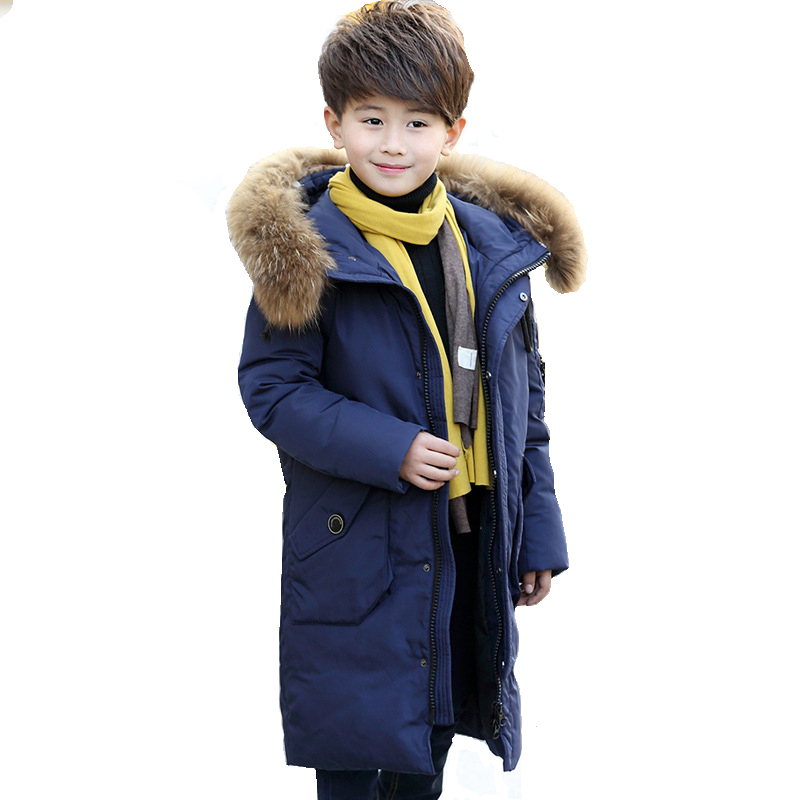 Boys Long Jackets Youth Children Down Coats Boy Winter Fur Coat Baby Boys Thicken Warm Jacket Kids Clothes -30 Degree kids vest girl boy winter warm thicken vests baby down cotton coat waistcoat zipper hooded jackets for girls boys children coats